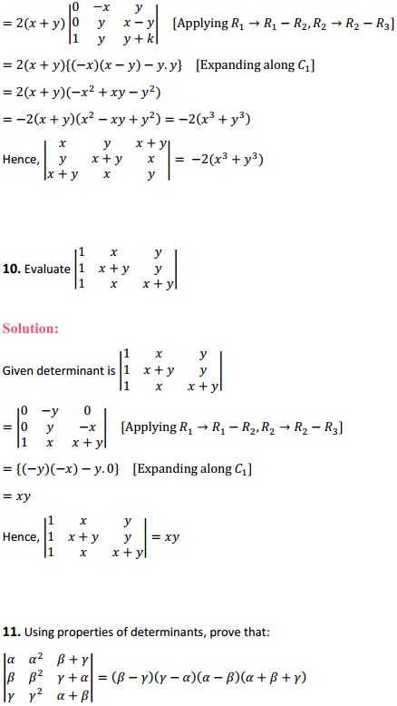 NCERT Solutions for Class 12 Maths Chapter 4 Determinants Miscellaneous Exercise 11