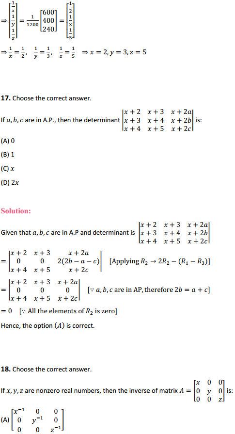 NCERT Solutions for Class 12 Maths Chapter 4 Determinants Miscellaneous Exercise 18
