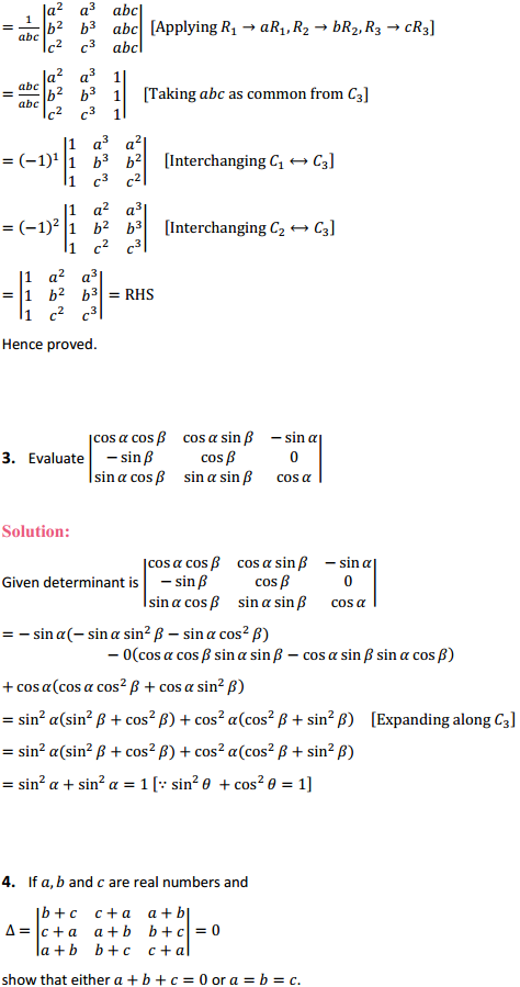 NCERT Solutions for Class 12 Maths Chapter 4 Determinants Miscellaneous Exercise 2