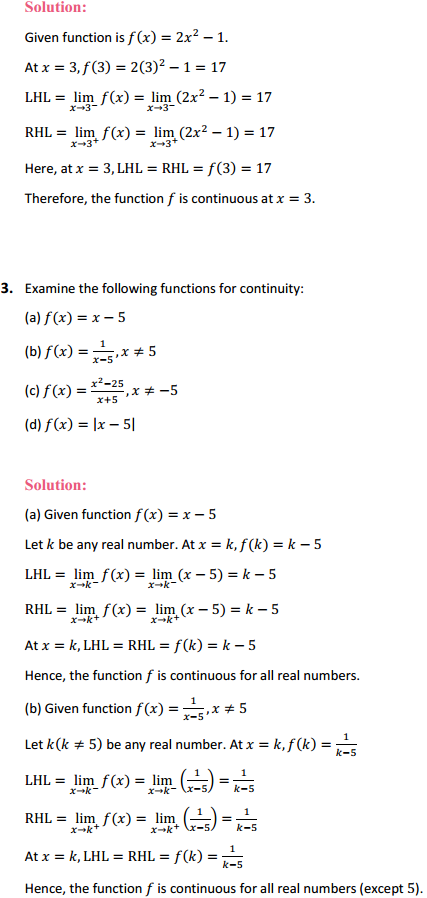 NCERT Solutions for Class 12 Maths Chapter 5 Continuity and Differentiability Ex 5.1 2