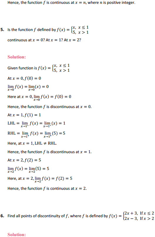 NCERT Solutions for Class 12 Maths Chapter 5 Continuity and Differentiability Ex 5.1 5