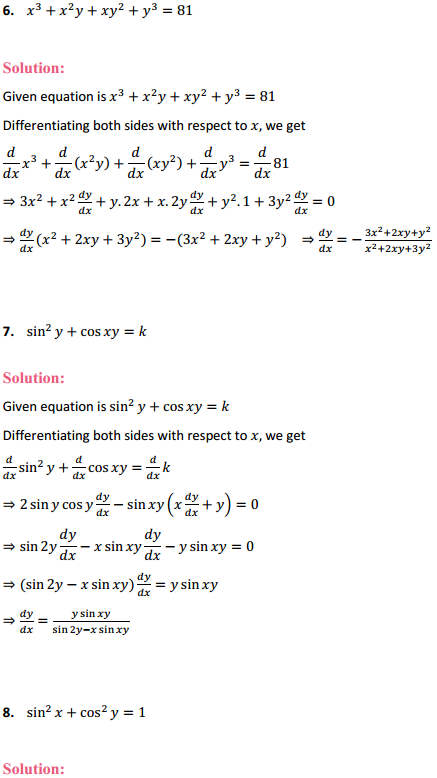 NCERT Solutions for Class 12 Maths Chapter 5 Continuity and Differentiability Ex 5.3 3