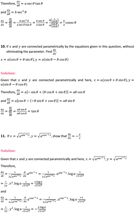 NCERT Solutions for Class 12 Maths Chapter 5 Continuity and Differentiability Ex 5.6 6