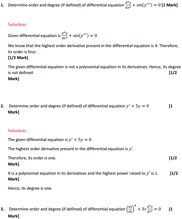 NCERT Solutions for Class 12 Maths Chapter 9 Differential Equations Ex 9.1 1