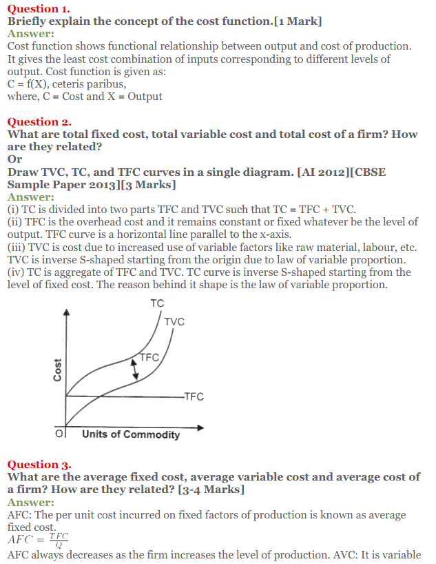 NCERT Solutions for Class 12 Micro Economics Chapter 6 Cost 1