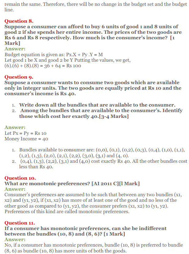 NCERT Solutions for Class 12 Micro Economics Chapter 2 Consumer Equilibrium 4