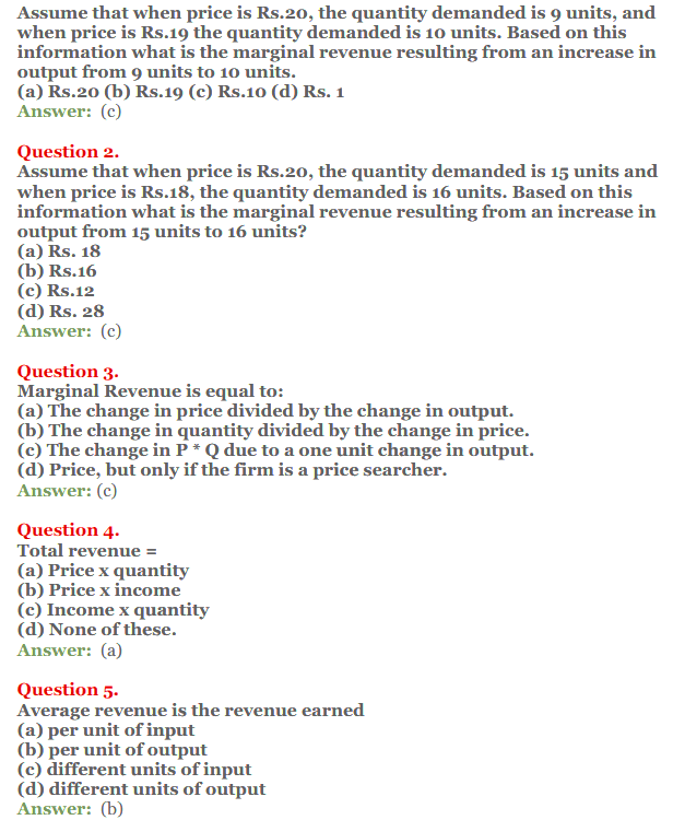 NCERT Solutions for Class 12 Micro Economics Chapter 8 Revenue 7