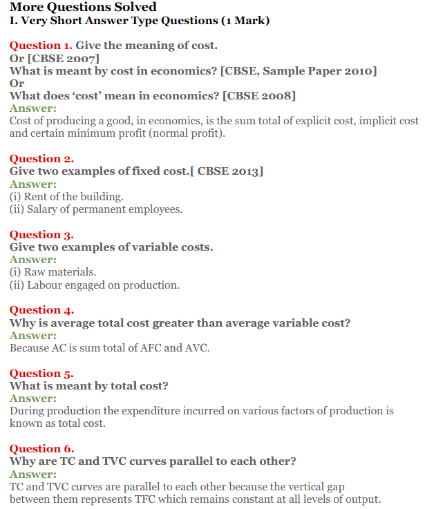 NCERT Solutions for Class 12 Micro Economics Chapter 6 Cost 8
