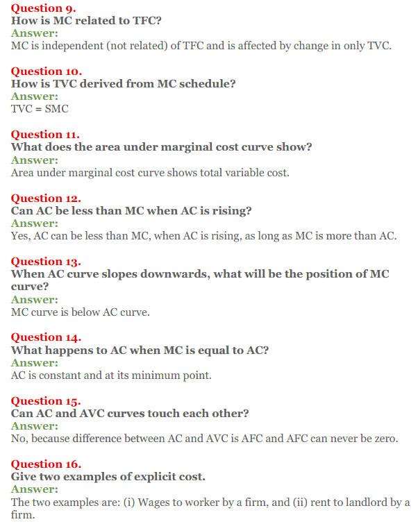 NCERT Solutions for Class 12 Micro Economics Chapter 6 Cost 10