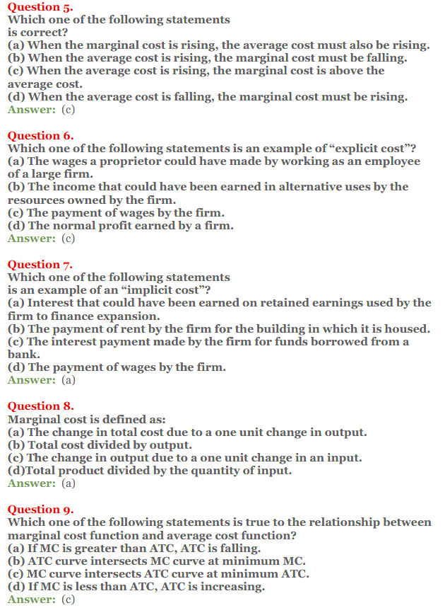 NCERT Solutions for Class 12 Micro Economics Chapter 6 Cost 14