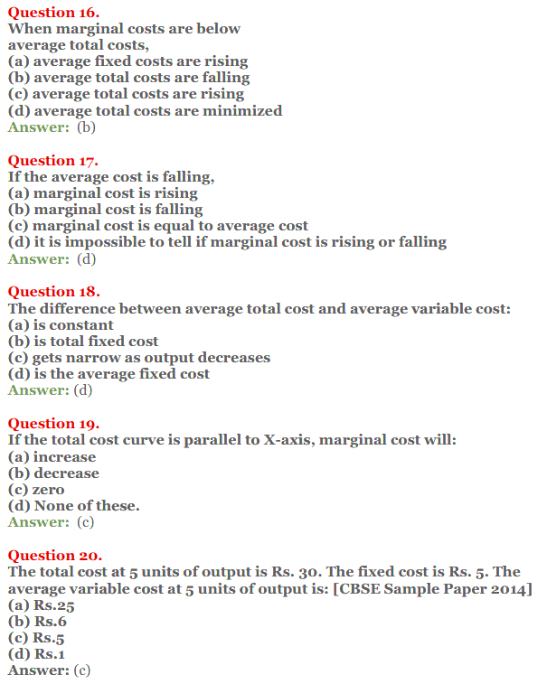 NCERT Solutions for Class 12 Micro Economics Chapter 6 Cost 18