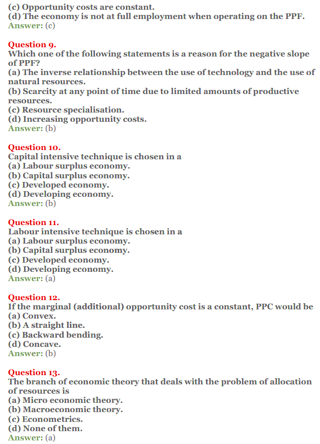 NCERT Solutions for Class 12 Micro Economics Chapter 1 Introduction to Economics 13