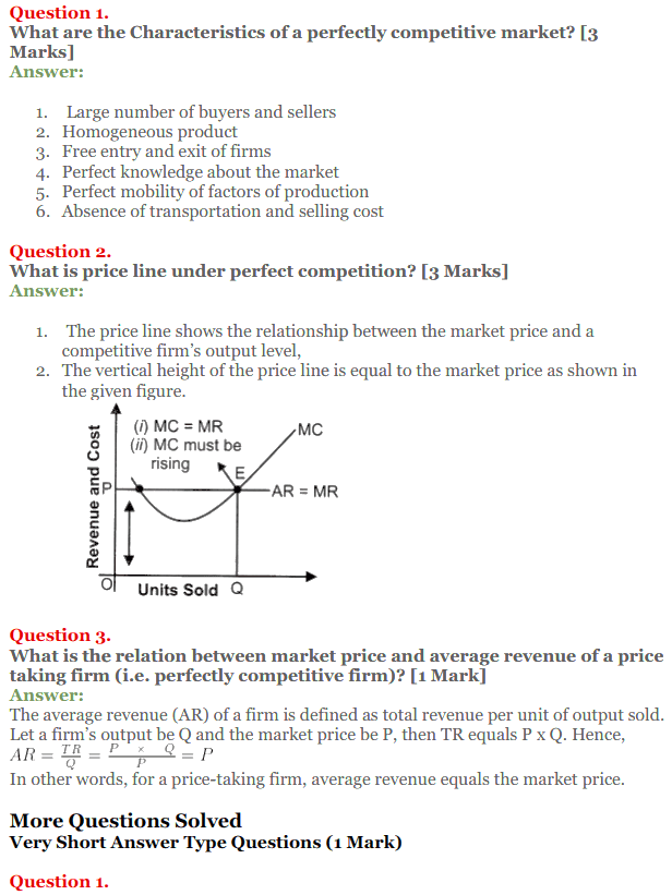 NCERT Solutions for Class 12 Micro Economics Chapter 10 Perfect Competition 1