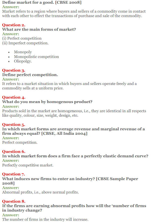 NCERT Solutions for Class 12 Micro Economics Chapter 10 Perfect Competition 2