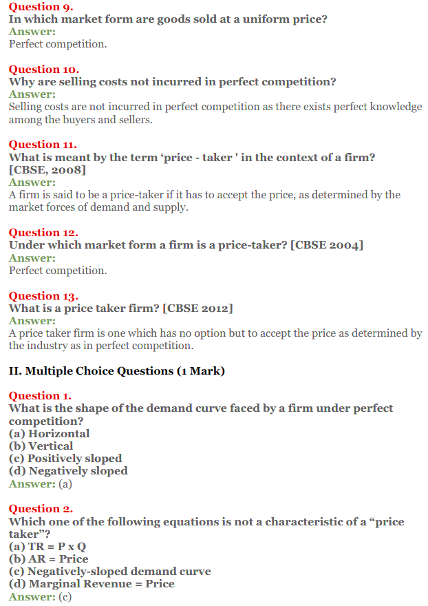 NCERT Solutions for Class 12 Micro Economics Chapter 10 Perfect Competition 3