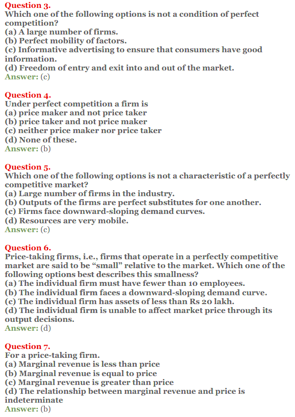 NCERT Solutions for Class 12 Micro Economics Chapter 10 Perfect Competition 4