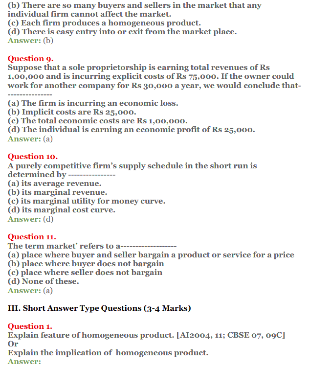NCERT Solutions for Class 12 Micro Economics Chapter 10 Perfect Competition 6