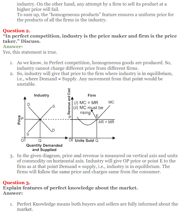 NCERT Solutions for Class 12 Micro Economics Chapter 10 Perfect Competition 8
