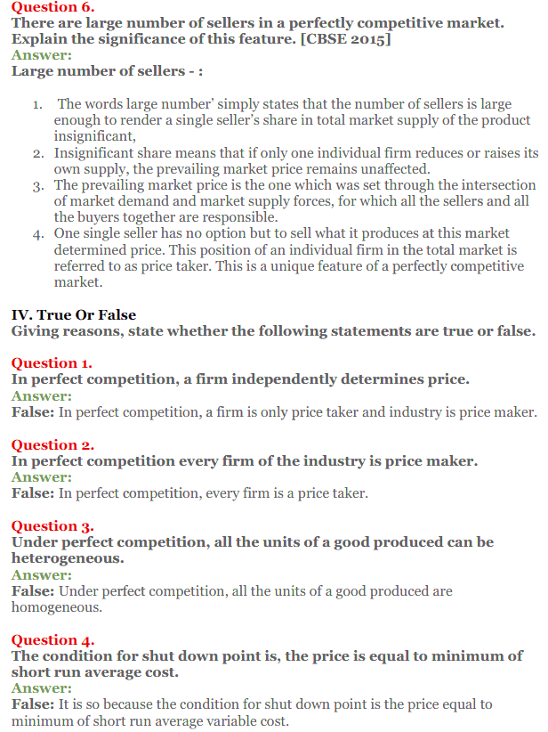 NCERT Solutions for Class 12 Micro Economics Chapter 10 Perfect Competition 12