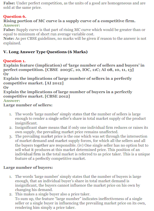 NCERT Solutions for Class 12 Micro Economics Chapter 10 Perfect Competition 14