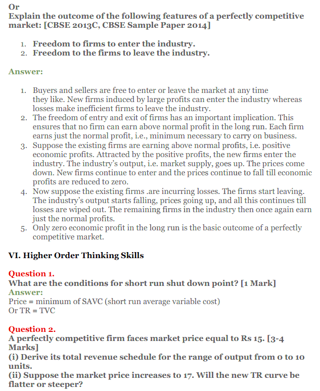 NCERT Solutions for Class 12 Micro Economics Chapter 10 Perfect Competition 16