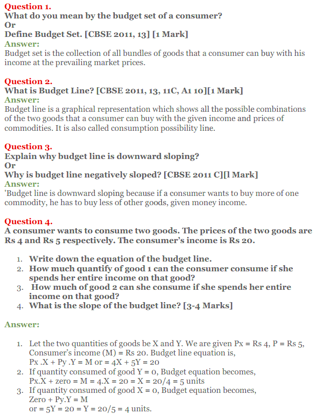 NCERT Solutions for Class 12 Micro Economics Chapter 2 Consumer Equilibrium 1