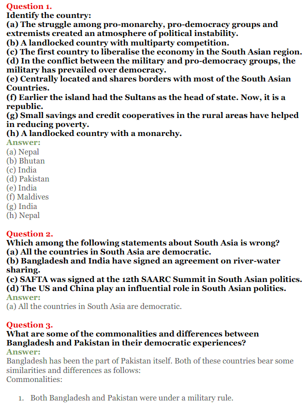 NCERT Solutions for Class 12 Political Science Chapter 5 Contemporary South Asia 1