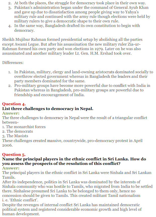 NCERT Solutions for Class 12 Political Science Chapter 5 Contemporary South Asia 2