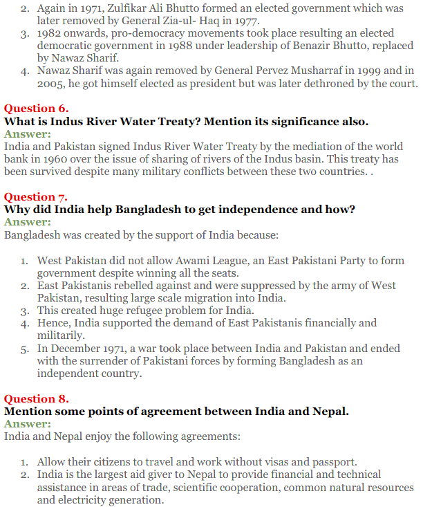 NCERT Solutions for Class 12 Political Science Chapter 5 Contemporary South Asia 12