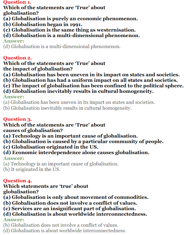 NCERT Solutions for Class 12 Political Science Chapter 9 Globalisation 1