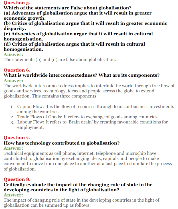 NCERT Solutions for Class 12 Political Science Chapter 9 Globalisation 2