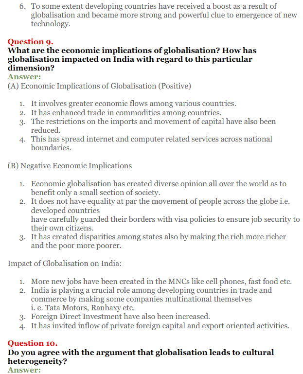 NCERT Solutions for Class 12 Political Science Chapter 9 Globalisation 4