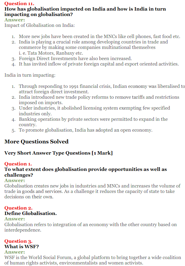 NCERT Solutions for Class 12 Political Science Chapter 9 Globalisation 6