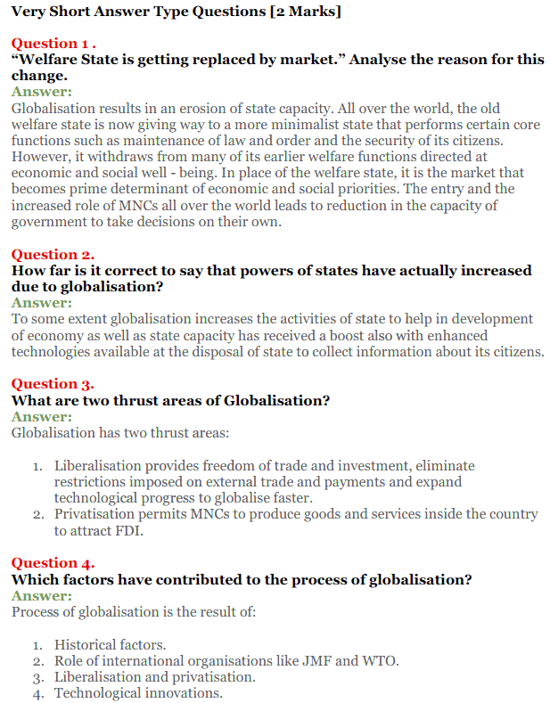NCERT Solutions for Class 12 Political Science Chapter 9 Globalisation 7