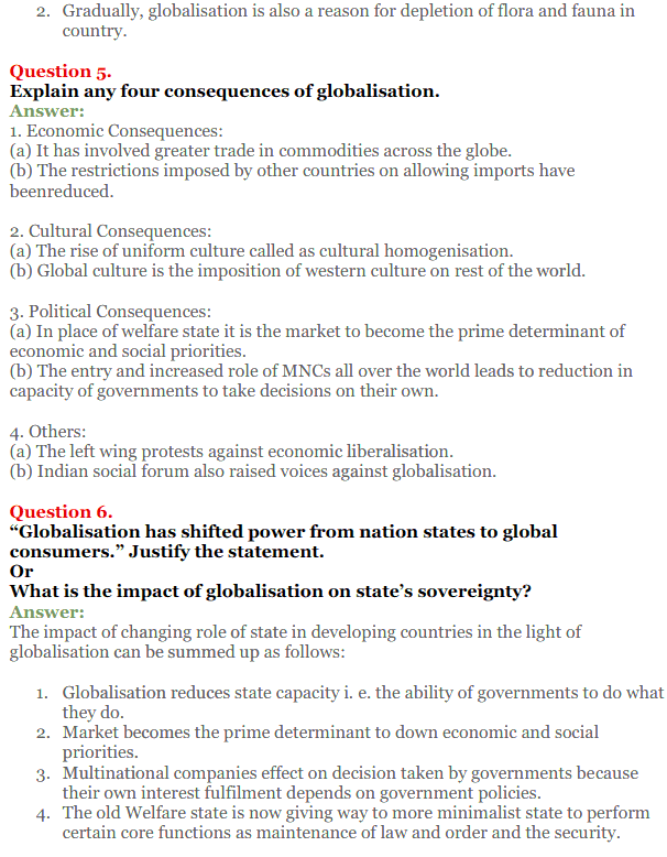 NCERT Solutions for Class 12 Political Science Chapter 9 Globalisation 13