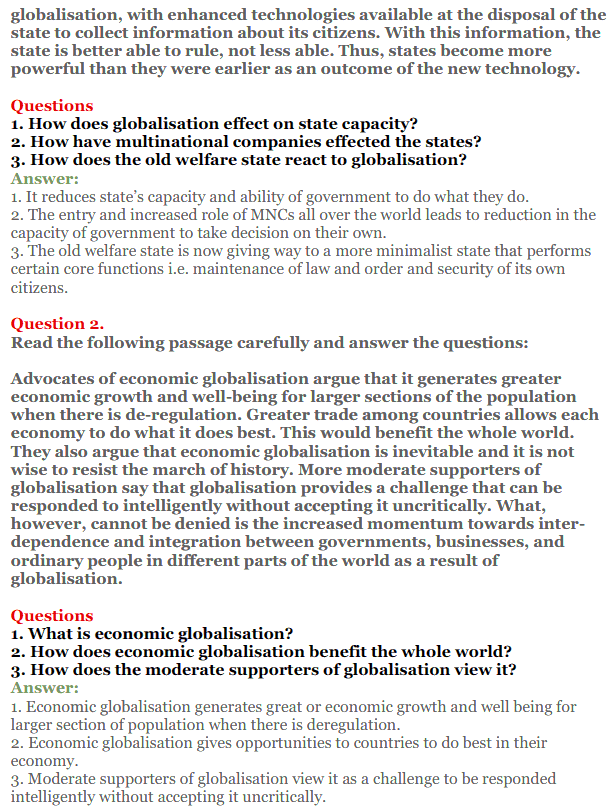 NCERT Solutions for Class 12 Political Science Chapter 9 Globalisation 17
