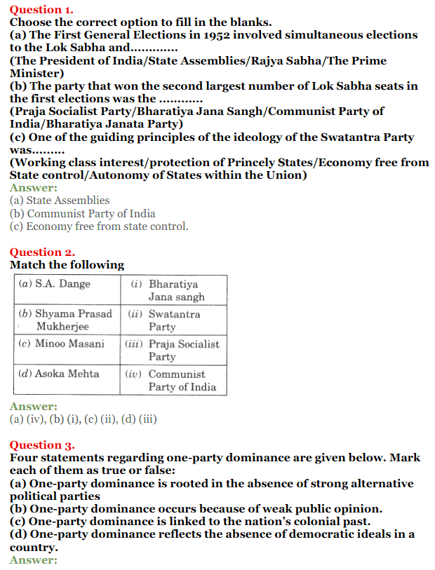 NCERT Solutions for Class 12 Political Science Chapter 2 Era of One Party Domina 1