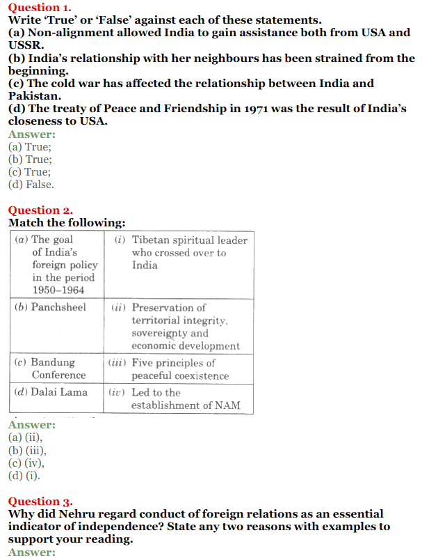 NCERT Solutions for Class 12 Political Science Chapter 4 India's External Relations 1