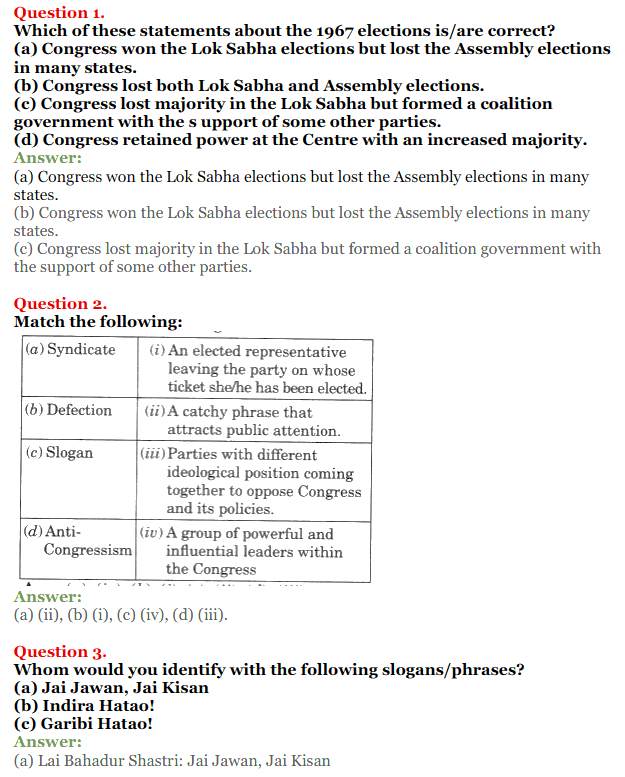 NCERT Solutions for Class 12 Political Science Chapter 5 Challenges to and Restoration of Congress System 1