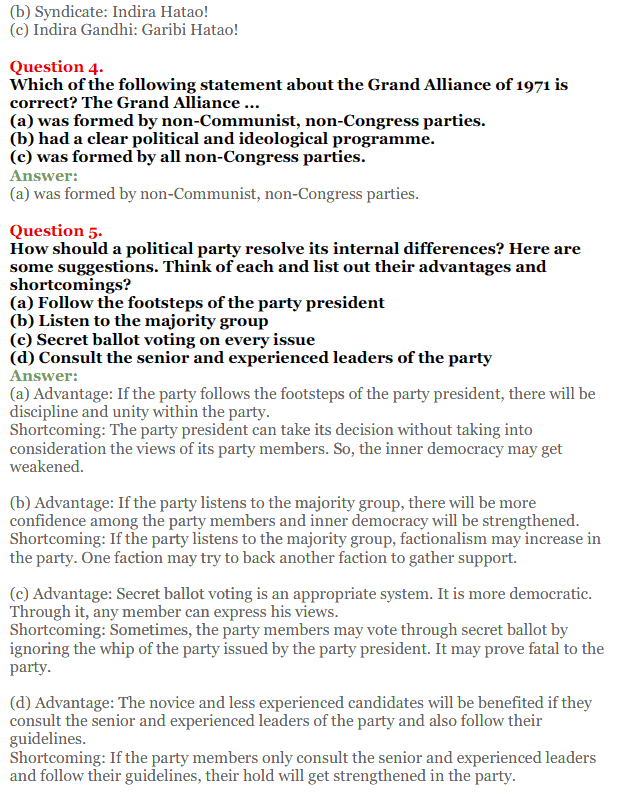 NCERT Solutions for Class 12 Political Science Chapter 5 Challenges to and Restoration of Congress System 2
