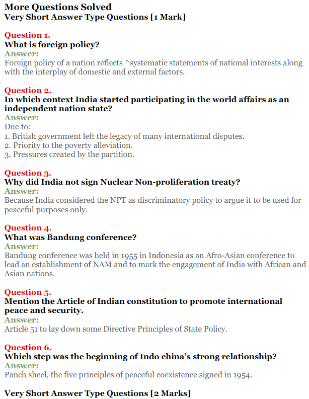 NCERT Solutions for Class 12 Political Science Chapter 4 India's External Relations 10