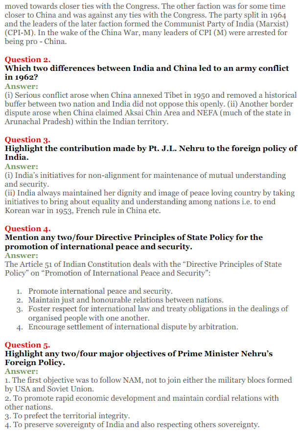 NCERT Solutions for Class 12 Political Science Chapter 4 India's External Relations 12