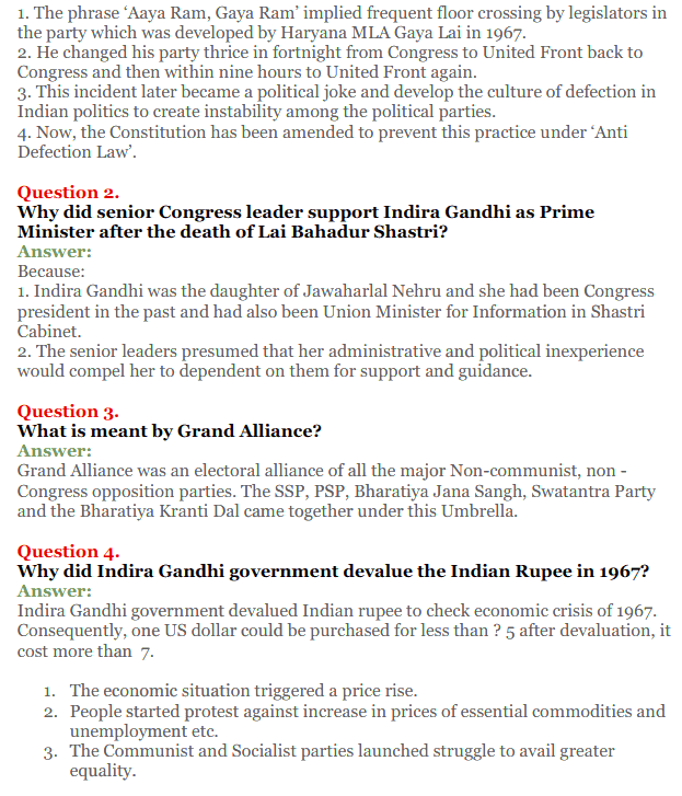 NCERT Solutions for Class 12 Political Science Chapter 5 Challenges to and Restoration of Congress System 11
