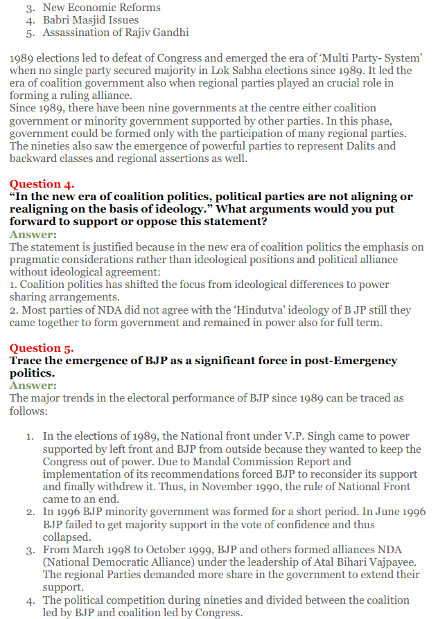 NCERT Solutions for Class 12 Political Science Chapter 9 Recent Developments in Indian Politics 2