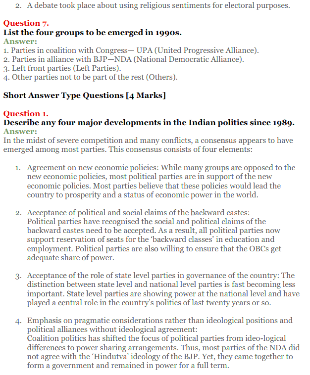NCERT Solutions for Class 12 Political Science Chapter 9 Recent Developments in Indian Politics 11
