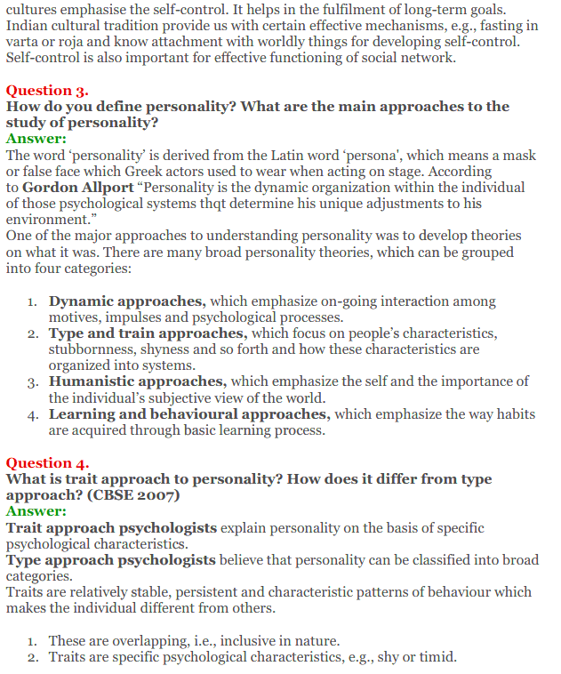 NCERT Solutions for Class 12 Psychology Chapter 2 Self And Personality 2