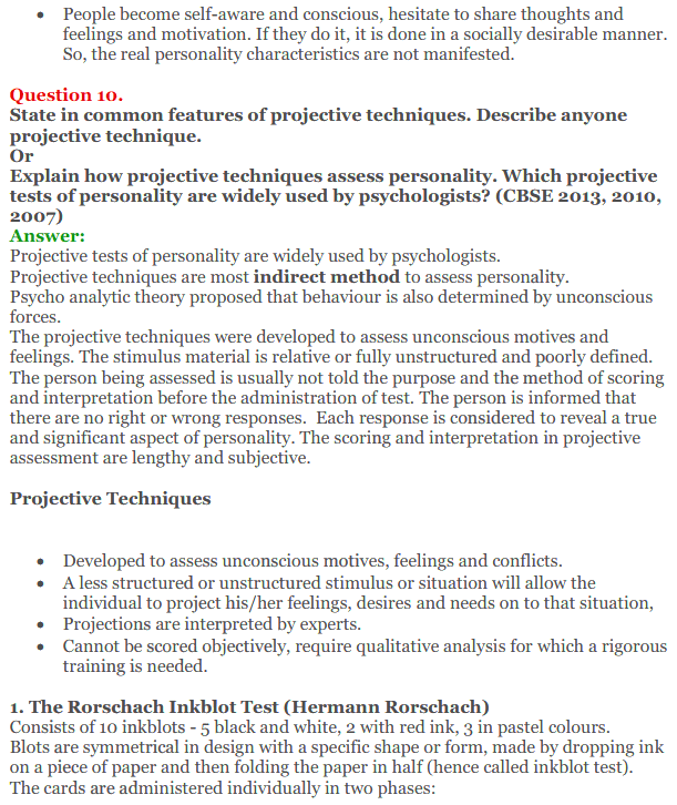 NCERT Solutions for Class 12 Psychology Chapter 2 Self And Personality 12