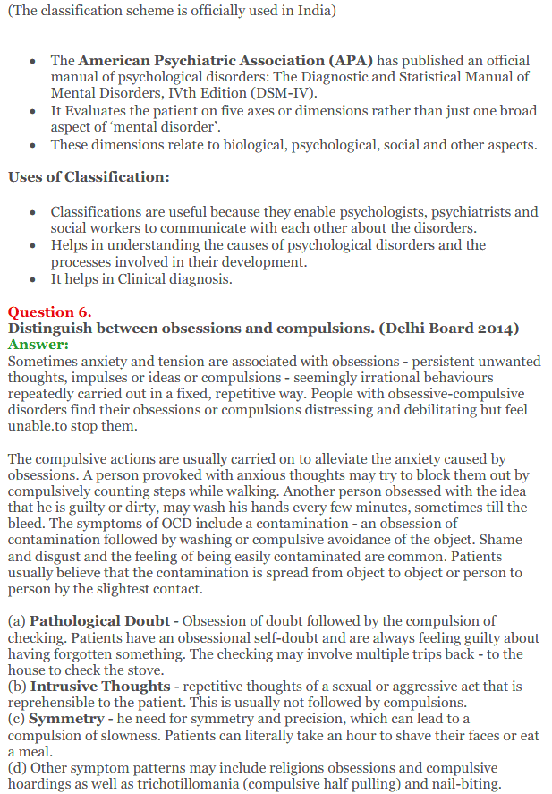 NCERT Solutions for Class 12 Psychology Chapter 4 Psychological Disorders 12