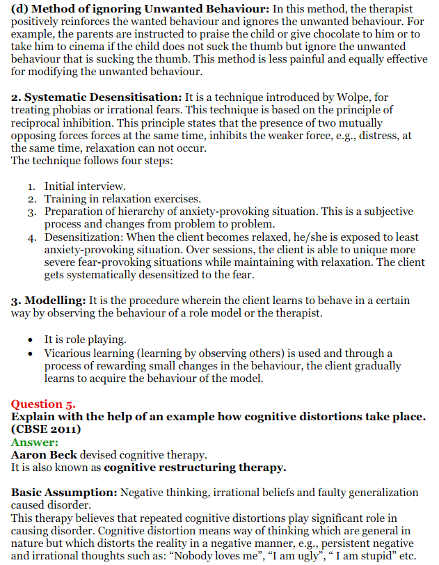NCERT Solutions for Class 12 Psychology Chapter 5 Therapeutic Approaches And Counselling 10