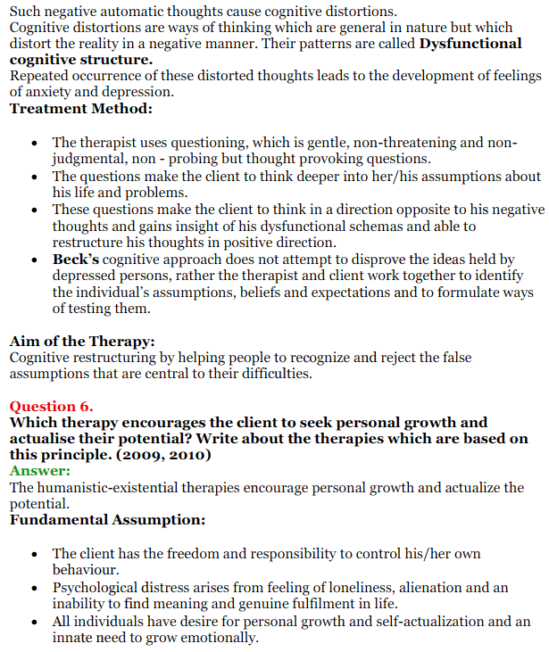 NCERT Solutions for Class 12 Psychology Chapter 5 Therapeutic Approaches And Counselling 12